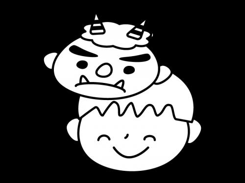 鬼のお面を付けた子供の白黒イラスト