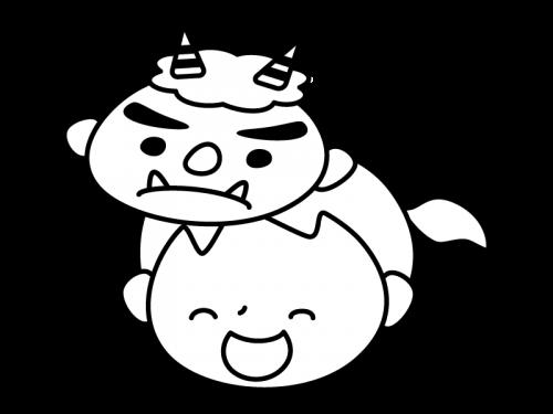 鬼のお面を付けた子供の白黒イラスト02