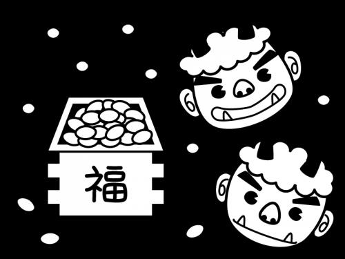 節分・鬼と豆の白黒イラスト02