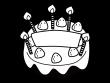 誕生日ケーキの白黒イラスト03