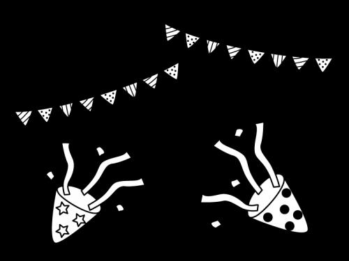 パーティーの白黒イラスト