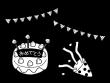 誕生日パーティーの白黒イラスト