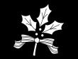 ヒイラギの飾りの白黒イラスト