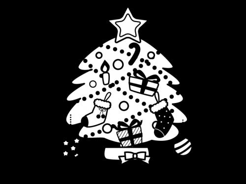クリスマスツリーの白黒イラスト04 かわいい無料の白黒イラスト モノぽっと