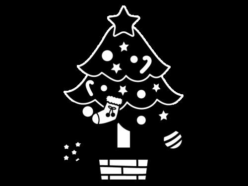 クリスマスツリーの白黒イラスト05