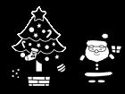 クリスマスツリーとサンタの白黒イラスト