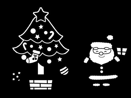 クリスマスツリーとサンタの白黒イラスト かわいい無料の白黒イラスト