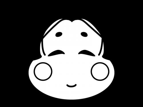 お多福さんの白黒イラスト