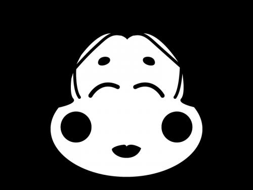お多福さんの白黒イラスト02