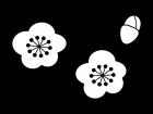 梅の花の白黒イラスト