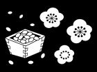 節分の豆と梅の花の白黒イラスト