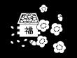 節分の豆と梅の花の白黒イラスト02