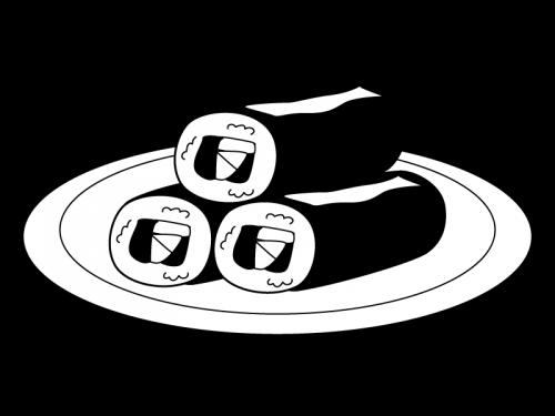 三本の恵方巻・太巻きの白黒イラスト