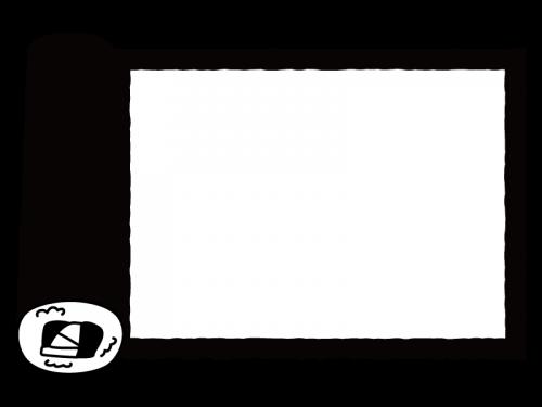 恵方巻・太巻きの枠・フレームの白黒イラスト