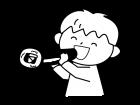 恵方巻を食べる子供の白黒イラスト