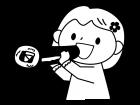 恵方巻を食べる子供の白黒イラスト02