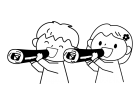 恵方巻を食べる子供達の白黒イラスト