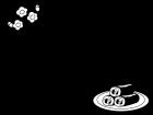 恵方巻と梅の枠・フレームの白黒イラスト
