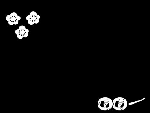 恵方巻と梅の枠・フレームの白黒イラスト02