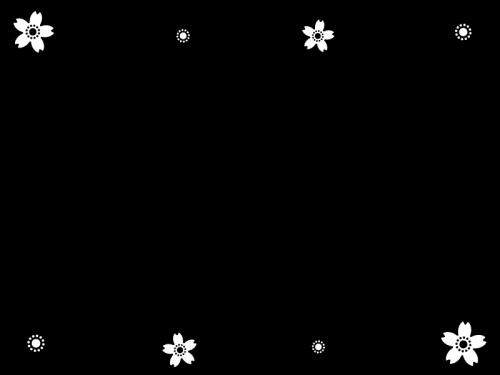 桜のフレーム・枠の白黒イラスト06