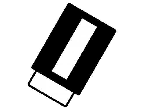 消しゴムの白黒イラスト