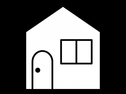 家の白黒イラスト