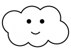 かわいい雲の白黒イラスト