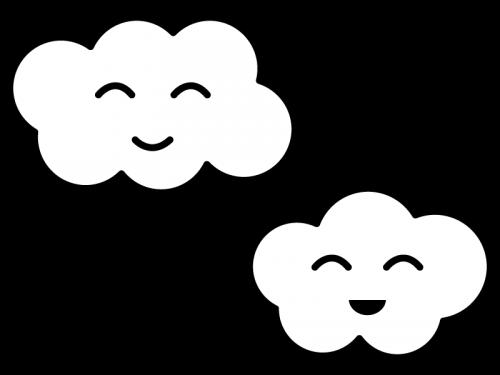 かわいい雲の白黒イラスト02