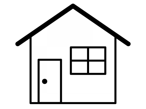 家の白黒イラスト02