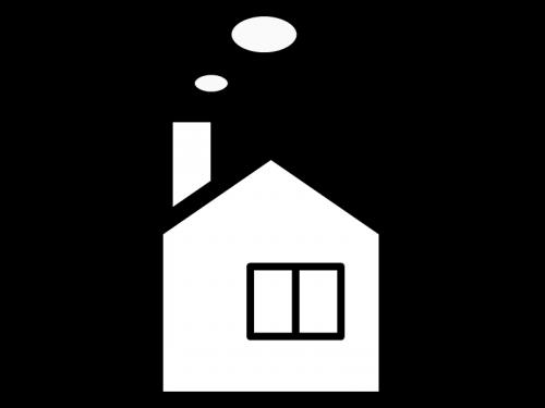 煙突付きの家の白黒イラスト かわいい無料の白黒イラスト モノぽっと