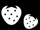 いちごの白黒イラスト