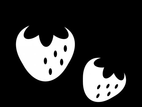 いちごの白黒イラスト02 かわいい無料の白黒イラスト モノぽっと