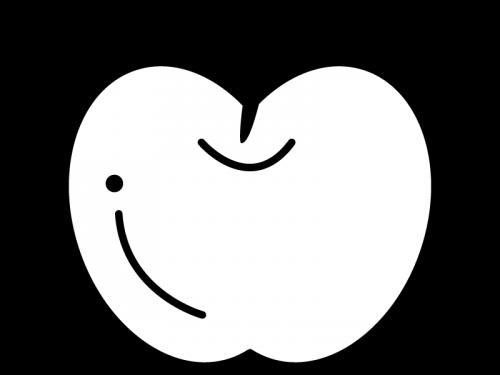 りんごの白黒イラスト