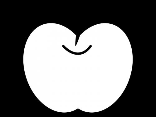 葉っぱが付いたりんごの白黒イラスト