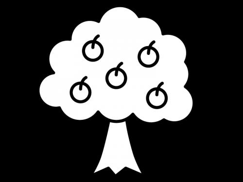 木の実果物がなった木の白黒イラスト02 かわいい無料の白黒イラスト