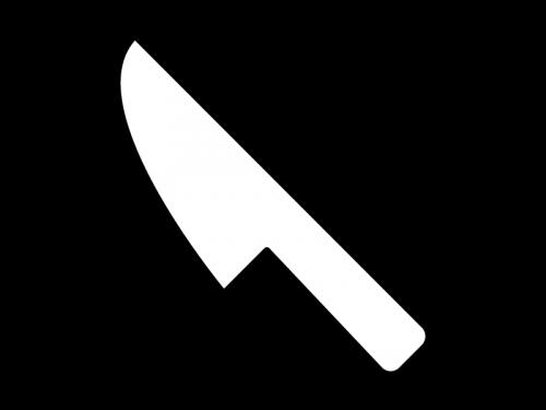 食事用ナイフの白黒イラスト