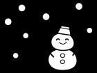 雪が降る中の雪だるまの白黒イラスト