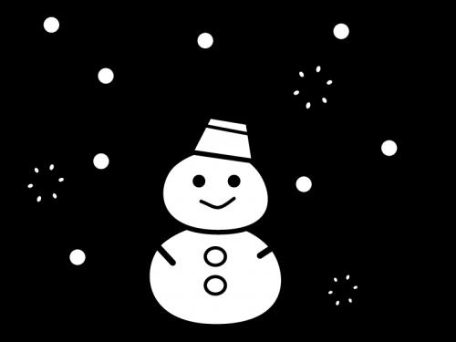 雪が降る中の雪だるまの白黒イラスト02