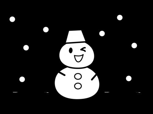 雪が降る中の雪だるまの白黒イラスト03