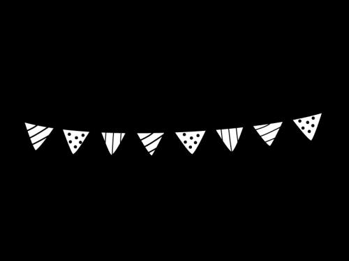 フラッグガーランド・三角旗の白黒イラスト