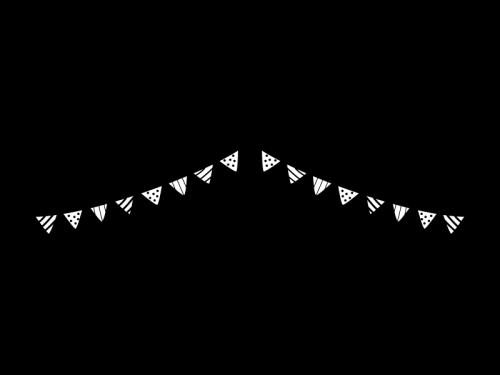 2連のフラッグガーランド・三角旗の白黒イラスト