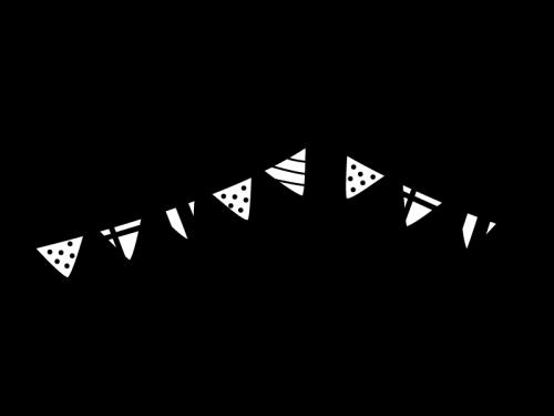 2連のフラッグガーランド・三角旗の白黒イラスト02