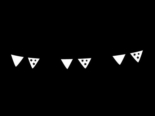 フラッグガーランド・三角旗の白黒イラスト02