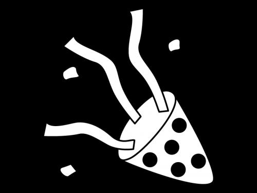 パーティークラッカーの白黒イラスト03