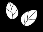 2枚の葉っぱの白黒イラスト