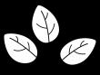 3枚の葉っぱの白黒イラスト