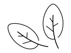 2枚の葉っぱの白黒イラスト03
