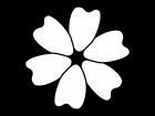 大輪の花の白黒イラスト02