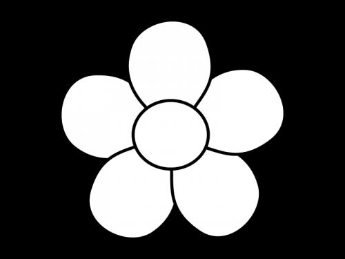 大輪の花の白黒イラスト03