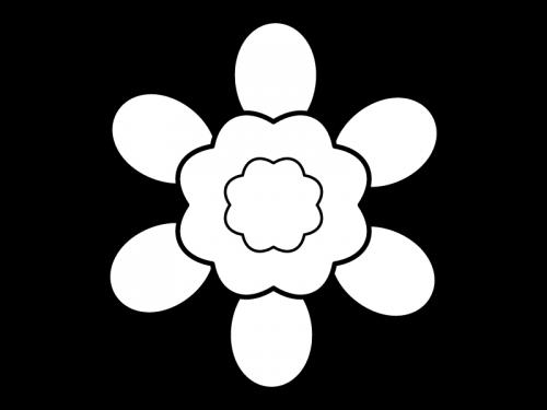 大輪の花の白黒イラスト04
